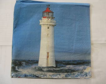 set of 2 lighthouses paper napkins