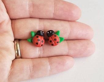 Ladybug earrings. Cute ladybug studs. Ladybug gift. Little girl studs. Animal earrings. Bug studs.Sensitive ears.Toddler earrings