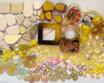 Yellow Mosaic Pieces Over 280 Pc Mix | Yellow Beads | Yellow Ceramic Tile | Yellow Beach Pottery | Embellishments | Multimedia Craft Pieces