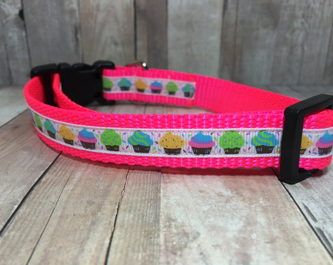"The Mini Cupcakes | Designer 3/4"" Width Dog Collar 