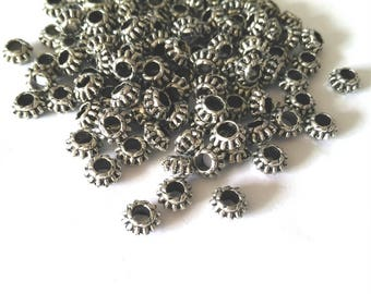 50pc antique silver finish 7x4mm metal beads/spacers-OFF2#8
