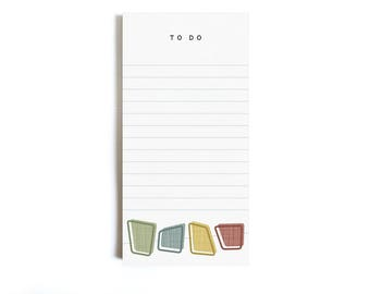 """Notepad """"Midcentury Modern Squares"""" - DIN A lang Illustration To Do List Conscious eco friendly sustainable  recycling recycled geometric"""