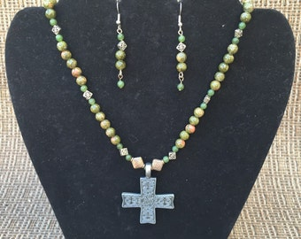 Celtic Cross Necklace & Earring Set