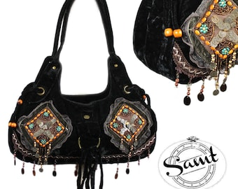 Vintage Shabby chic romance with sequined coin bag black
