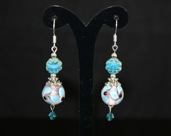 Blue on Grey Lampwork Bead w Aquamarine Swarovski Crystal and Turquoise Picasso Flower Cz Beads Silver Plated Earring