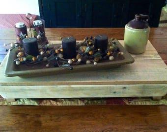 Primitive Wood Table Riser Bench Reclaimed Wood, Rustic, Primitive, Vintage, Organizer, Pallet, Handmade, Kitchen, Holiday/Housewarming gift