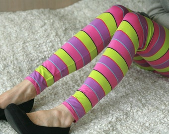 CLEARANCE SALE - Colorful striped leggings