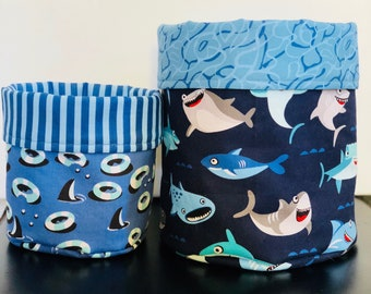 Fabric bucket ,shark bucket, boys  room,  bany shower gift