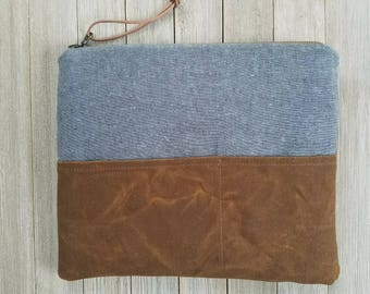 iPad sleeve, tablet sleeve, notebook sleeve, iPad case, waxed canvas, shale and tobacco brown