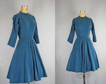 1950s Vintage Dress l 50s Blue Velveteen Dress