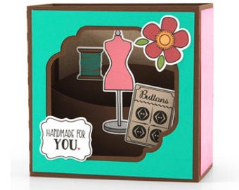Handmade For You Pop-up Card , 3D , Buttons , thread  , Flower , Family , Friend , Just Because