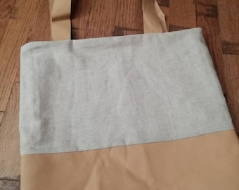 Organic canvas and leather tote bag
