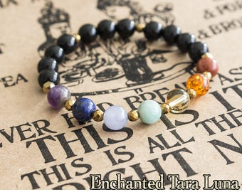 Tourmaline bracelet road of life with 7 chakra beads