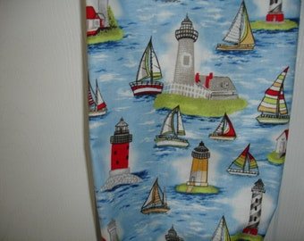 Lighthouses & Sailboats print cotton plastic grocery/shopping bags storage holder