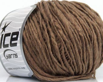 Brown Wool Blend Knitting Yarn Crochet Yarn Knit Grey Gray Roving Macrame Weaving Yarn Lot 48048