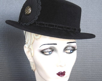 Couture Parisian Boater Style Hat In Rich Black Velour On Sale