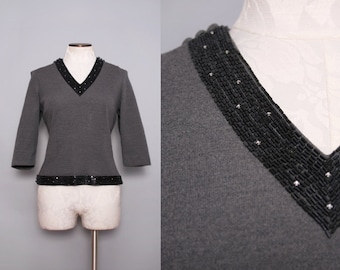 1950s Party Top / Marion McCoy Charcoal Gray Winter Top / Grey 50s Top / Rhinestone Beaded Top / Size Medium Large