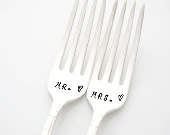 Mr and Mrs wedding forks, hand stamped table setting, unique engagement gift.