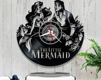 Vinyl Record Clock the Little Mermaid| Wall clock Disney *V094  Original Clock| Unique Wall Clock| Gift for Baby Girl| Wall Record Clock