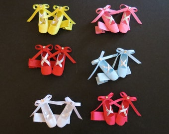 Beautiful Ballet Shoe Hair Clips, Bows New and Handmade, 3 Dimensional