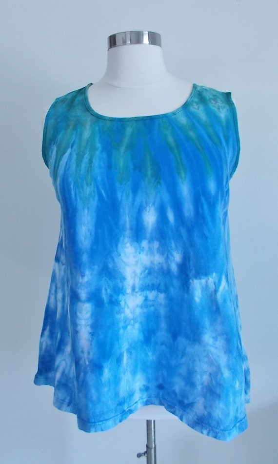 Ice dye tie dye  Hi-Lo Women's XL Sleeveless Top
