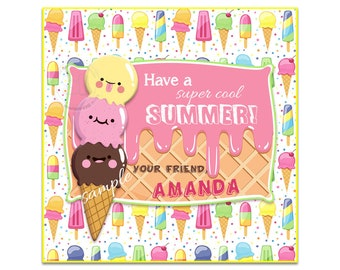 """Custom Happy Summer Printable Tags- 2.5"""" Cool Summer-Ice cream theme Tags- Personalized Square 2.5"""" Tags-Digital file-YOU PRINT"""