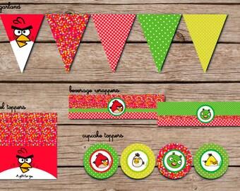 Angry Bird Birthday Party - Angry Birds Birthday Party Printable - Party Set  Angry Birds