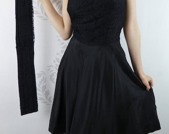 VINTAGE BLACK DRESS 1950s Strapless Lace Taffeta Size Small