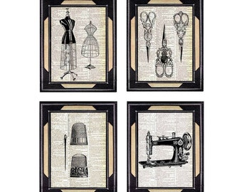 SEWING art prints wall decor Victorian scissors thimble dressform sewing machine upcycled vintage dictionary book page black white 8x10, 5x7