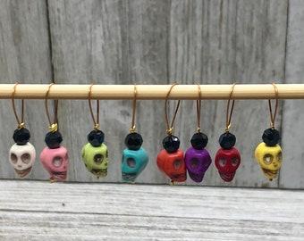 Skull stitch markers, snag free, set of 7