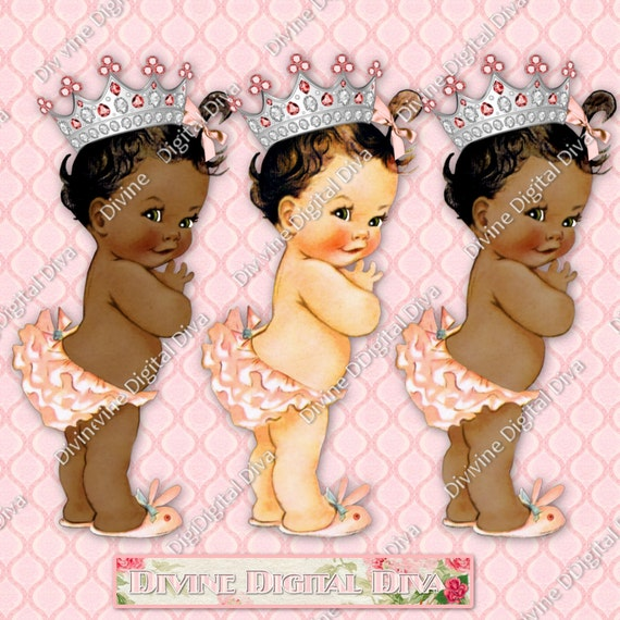 Princess Ruffle Pants Vintage Baby Girl Silver Crown 3 Skintones 5 Hair Colors Transparent Clipart Instant Download PNG From DivineDigitalDiva On Etsy