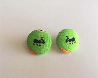 Ant Button Earrings/Circle Earrings