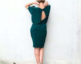 Green dress, Argentine Tango dress, Jersey dress, Open back dress, Knee length, Comfortable dress, Soft fabric dress