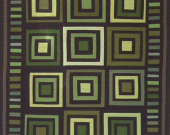 "Amish Wall Quilt, Greens & Browns, Bull's Eye Log Cabin, 40"" x 50"""