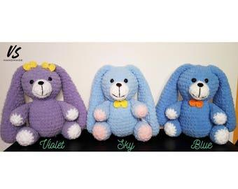 "10"" Velveteen rabbit CUTE SOFTIE plush BUNNY long ears floppy eared amigurumi crochet soft toy baby gift playground chew baby blue violet"