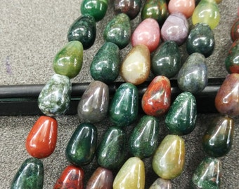 Pink Green Indian Agate Stone Teardrop beads 8x12mm- Central Drilled- 33pcs/strand