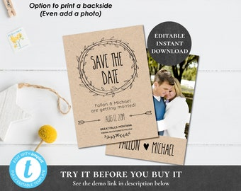 Rustic Save the Date Template EDITABLE PRINTABLE Save Our Date Kraft Arrow Wreath Laurels Country Farm Wedding Engagement Photograph PCRWWS