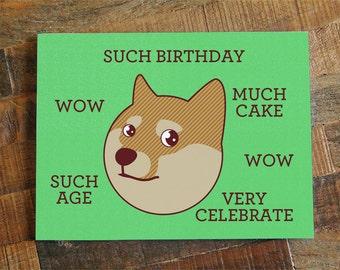 Animal birthday card etsy funny birthday card doge such birthday internet meme humor card bookmarktalkfo Gallery