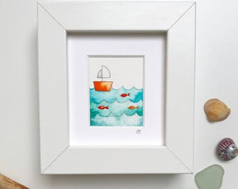 Little Fishing Boat, framed miniature watercolour painting