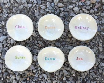 Personalized Dish, Small Ceramic Bowl, Jewelry Dish, Stamped Pottery, Name Keepsake, Small Ceramic Dish, Children's Personalized Plate