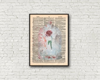 Fairytale Rose Art Print Beauty and the Beast Magical Valentines Gift Dictionary Wall Art