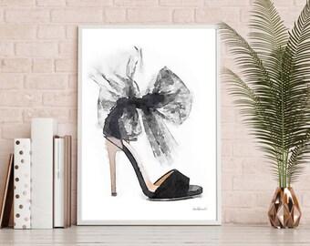 Black grey shoes fashion watercolor shoes, high heel, fashion illustration, shoe art, shoe art, high heels, fashion print, fashion art, gift