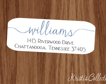 Family Return Address Labels Stickers - Custom Personalized Family Return Address Shipping Label - Calligraphy Labels