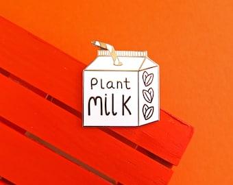 Vegan Pin, Plant Milk Pin, Plant Based, Pin Badge, Dairy Free, Milk alternative, Milk Carton, Straw, Cute, Milk Free, Enamel Pin, Milk, Fun