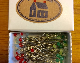 100 Little House Dressmaking Pins Japanese glass head pins refill for Pin Tin