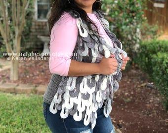 New Hanging Crocodile Crochet Vest Jacket- Only Pattern