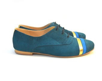 Teal Genuine Suede Oxford Shoes