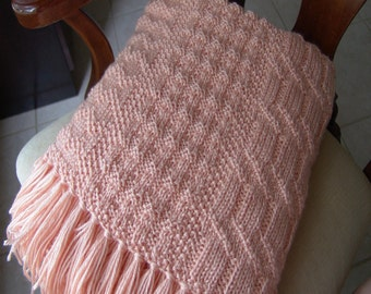 Knitted Afghan - Peach Delight