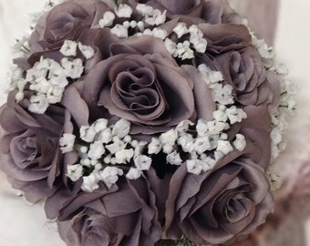 Gray Bridal Bouquet, Grey Wedding Bouquet, Gray Artificial Wedding Flowers, Grey Bridal Wedding Bouquets