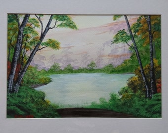 Mixed media painting, paradise pond, lake painting, landscape painting